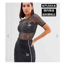 PUMA Crew Neck Street Style Short Sleeves Python Tops