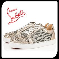 Christian Louboutin Round Toe Rubber Sole Casual Style Blended Fabrics Studded