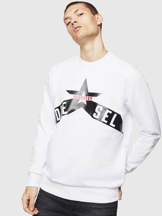 DIESEL Sweatshirts Crew Neck Pullovers Street Style Long Sleeves Cotton
