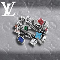 Louis Vuitton Flower Patterns Monogram Silver Rings