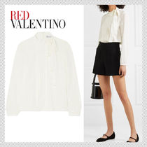RED VALENTINO Silk Long Sleeves Plain Shirts & Blouses
