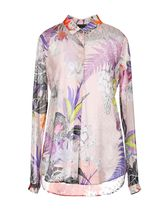 Just Cavalli Flower Patterns Silk Short Sleeves Shirts & Blouses