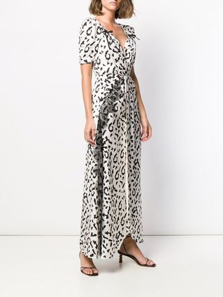 Leopard Patterns Maxi V-Neck Long Short Sleeves Party Style