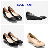 Cole Haan Round Toe Plain Leather Office Style Wedge Pumps & Mules
