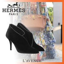 HERMES Blended Fabrics Plain Elegant Style Ankle & Booties Boots