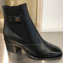 CHANEL Square Toe Leather Block Heels Chelsea Boots Elegant Style