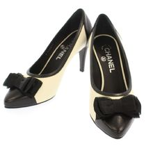 CHANEL Sheepskin Bi-color Pin Heels Party Style