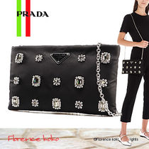 PRADA Nylon 2WAY Chain Plain With Jewels Elegant Style Crossbody
