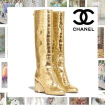 CHANEL Other Animal Patterns Leather Block Heels Party Style