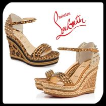 Christian Louboutin Open Toe Casual Style Studded Plain Other Animal Patterns