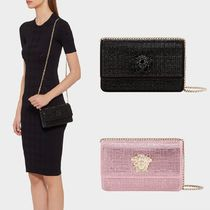 VERSACE Leather Elegant Style Party Bags