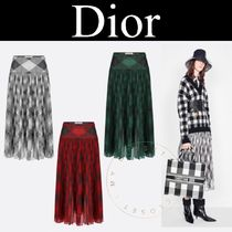 Christian Dior Flared Skirts Tropical Patterns Street Style Cotton Long