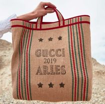 GUCCI Arli Casual Style Unisex A4 Oversized Totes