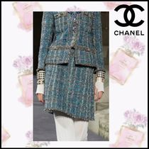 CHANEL Flared Skirts Short Tweed Elegant Style Skirts
