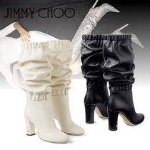 Jimmy Choo Plain Leather Block Heels Elegant Style Over-the-Knee Boots