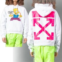 Off-White Unisex Street Style Collaboration Long Sleeves Plain Hoodies