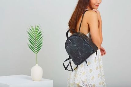 Casual Style Blended Fabrics Plain Handmade Backpacks