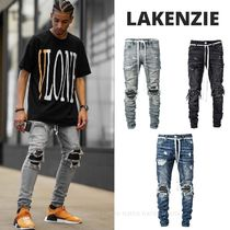 LAKENZIE Tapered Pants Denim Street Style Plain Jeans