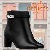 HERMES Plain Leather Block Heels Ankle & Booties Boots