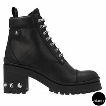 MiuMiu Mountain Boots Round Toe Plain Leather With Jewels