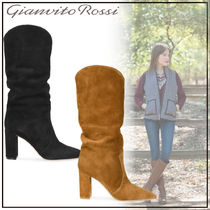 Gianvito Rossi Casual Style Suede Plain Block Heels High Heel Boots