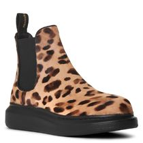 alexander mcqueen Leopard Patterns Round Toe Rubber Sole Casual Style