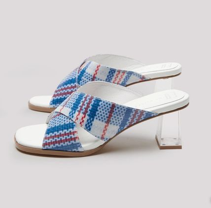Other Plaid Patterns Street Style Leather Heeled Sandals