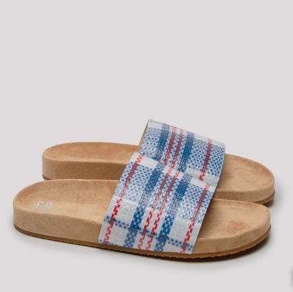 Other Plaid Patterns Street Style Leather Sandals
