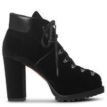 Azzedine Alaia Round Toe Lace-up Casual Style Velvet Plain Block Heels