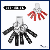 Off-White Unisex Street Style Leather Keychains & Holders