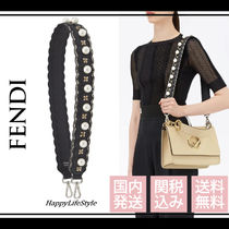 FENDI STRAP YOU Flower Patterns Plain Leather With Jewels Elegant Style Bags