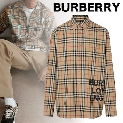 Burberry Shirts Other Check Patterns Unisex Street Style Long Sleeves Cotton