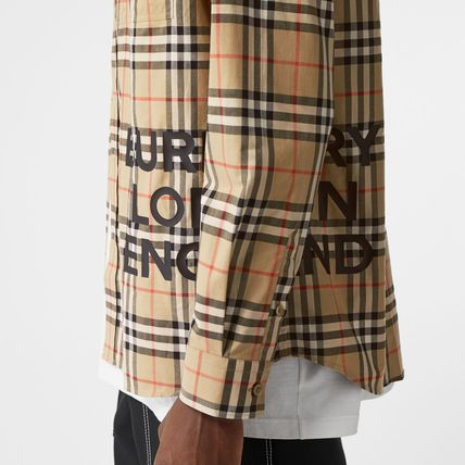 Burberry Shirts Other Check Patterns Unisex Street Style Long Sleeves Cotton 3