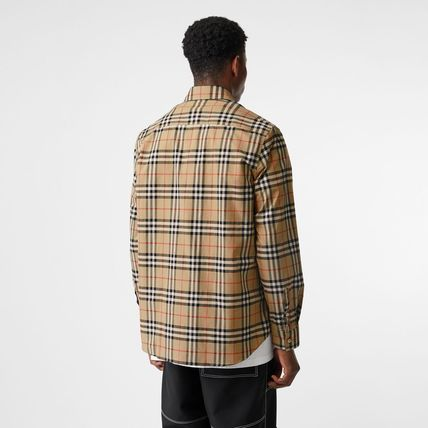 Burberry Shirts Other Check Patterns Unisex Street Style Long Sleeves Cotton 4