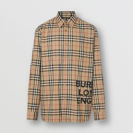 Burberry Shirts Other Check Patterns Unisex Street Style Long Sleeves Cotton 5