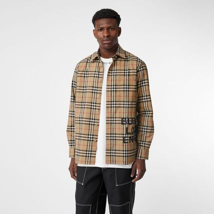 Burberry Shirts Other Check Patterns Unisex Street Style Long Sleeves Cotton 6