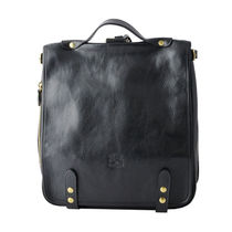 IL BISONTE Casual Style Plain Leather Logo Backpacks