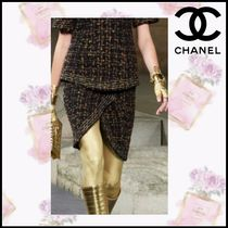 CHANEL Pencil Skirts Short Tweed Elegant Style Skirts