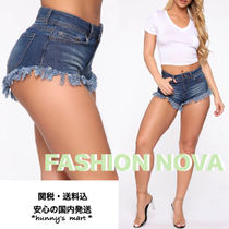 FASHION NOVA Short Casual Style Denim Street Style Fringes