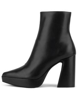 Casual Style Plain Leather Chunky Heels High Heel Boots