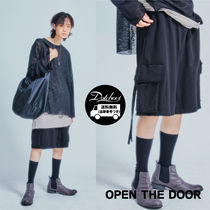 OPEN THE DOOR Street Style Plain Cargo Shorts