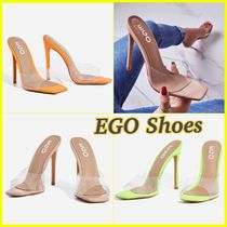 EGO Square Toe Casual Style Plain Pin Heels Heeled Sandals