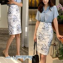 Pencil Skirts Short Flower Patterns Cotton Office Style