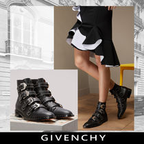 GIVENCHY Plain Toe Studded Leather Ankle & Booties Boots