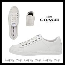 Coach Round Toe Rubber Sole Casual Style Plain Leather