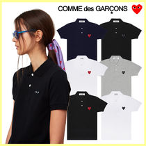 COMME des GARCONS Crew Neck Heart Unisex Street Style Plain Cotton
