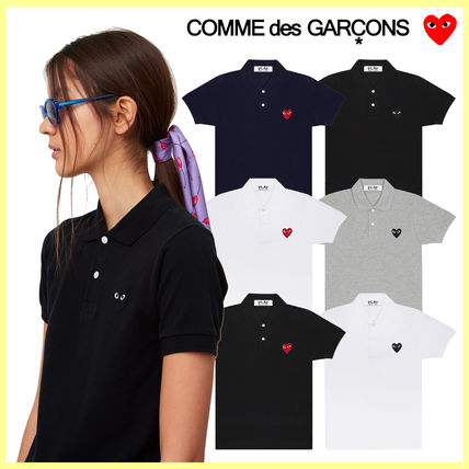 COMME des GARCONS Crew Neck Heart Unisex Plain Cotton Short Sleeves