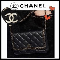 CHANEL CHAIN WALLET Casual Style Lambskin 2WAY Chain Plain Shoulder Bags