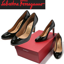 Salvatore Ferragamo Wedge Round Toe Studded Leather Wedge Pumps & Mules