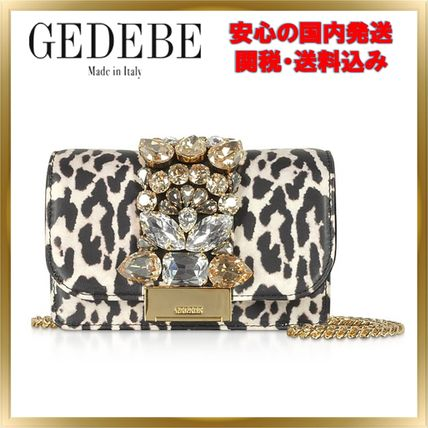 Leopard Patterns Chain Leather With Jewels Elegant Style